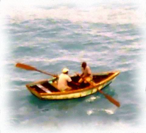 Caribbean Island Boat Men Water Color Painting