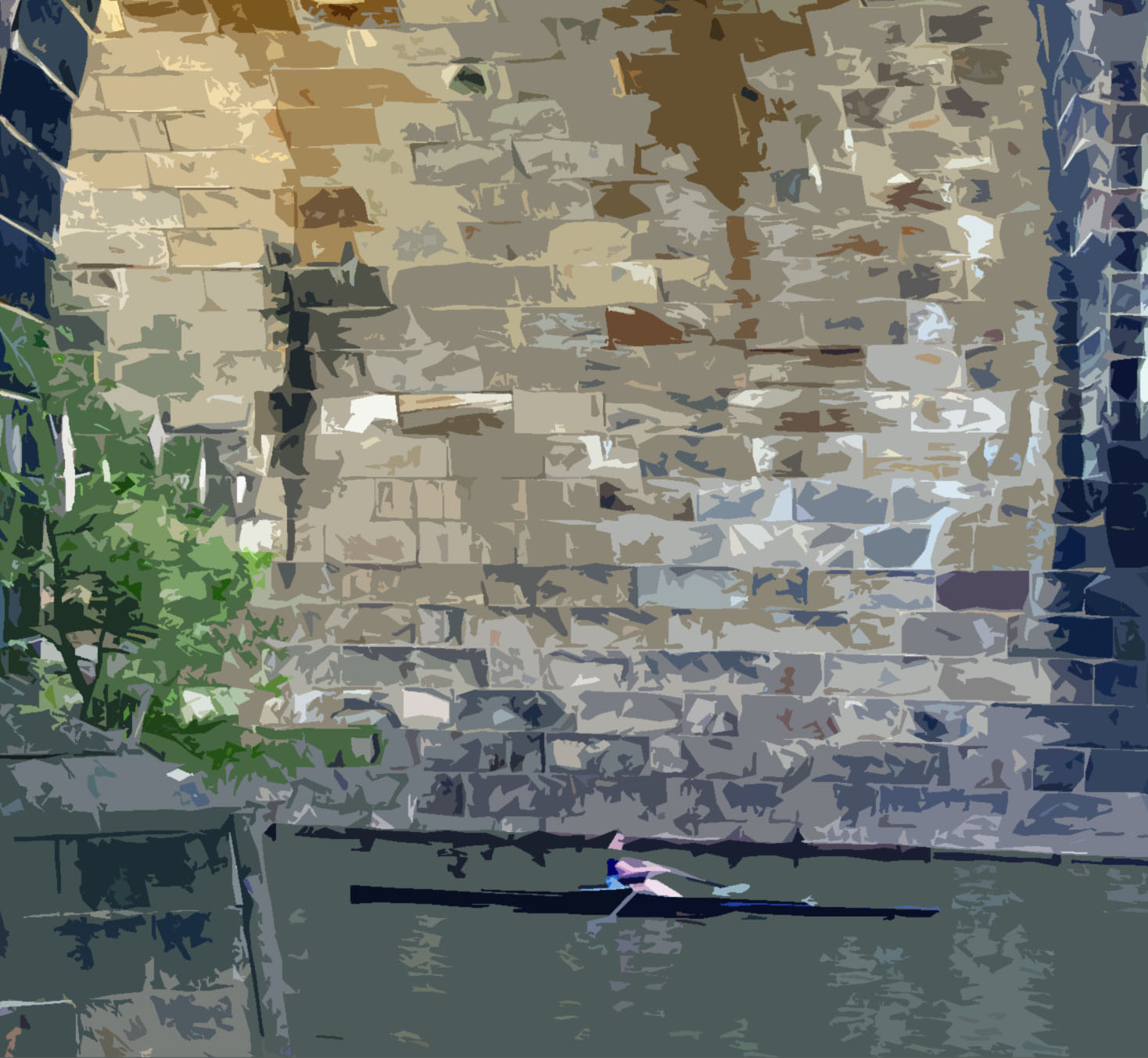 Philadelphia River Rower Painting
