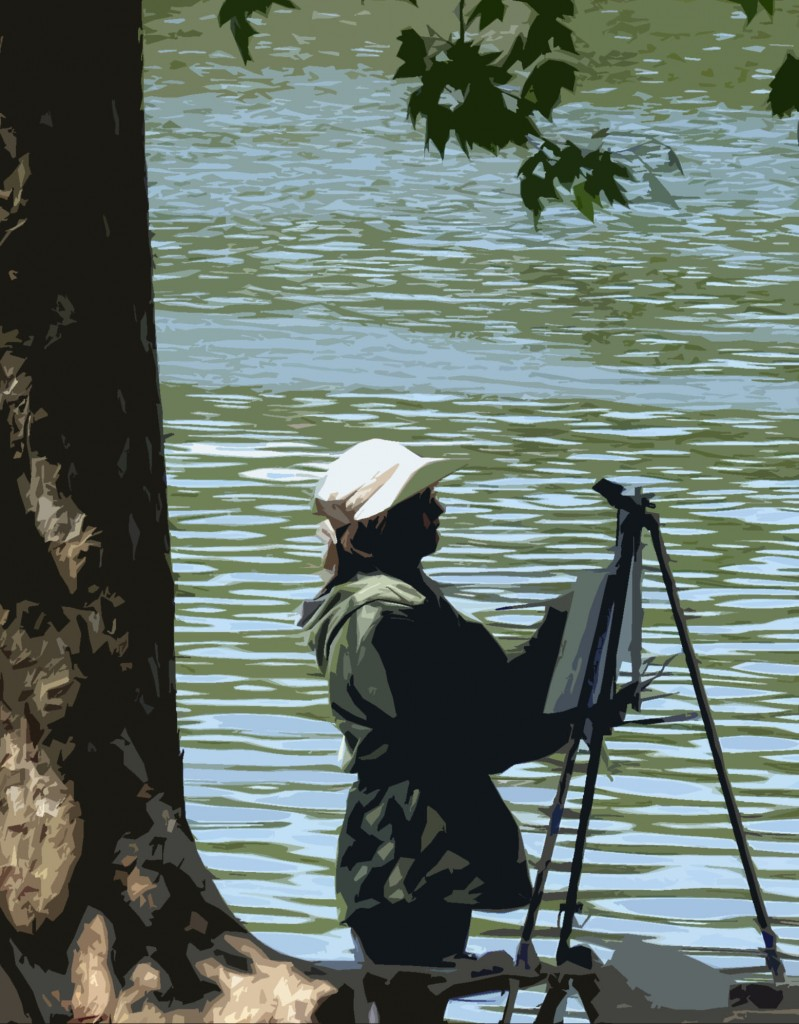 River Bank Artist Painting