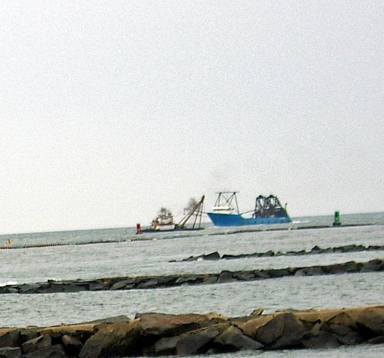 Dredger And Fishing Boat Off Atlantic City