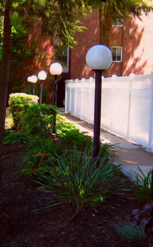 Garden Walk Way Lamposts Painting