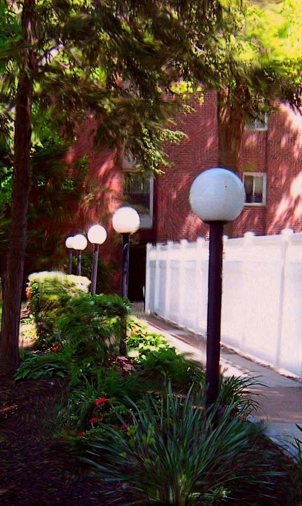 Lampost Row In Jenkintown Pa Painting