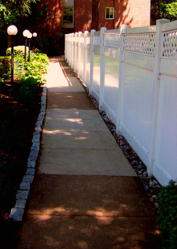 Landscaped Walk Way New Fence Painting