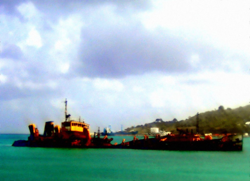 Marigot Bay Dredger Painting