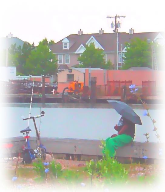 Back Bay Fishing On A Rainy Day Water Color Painting