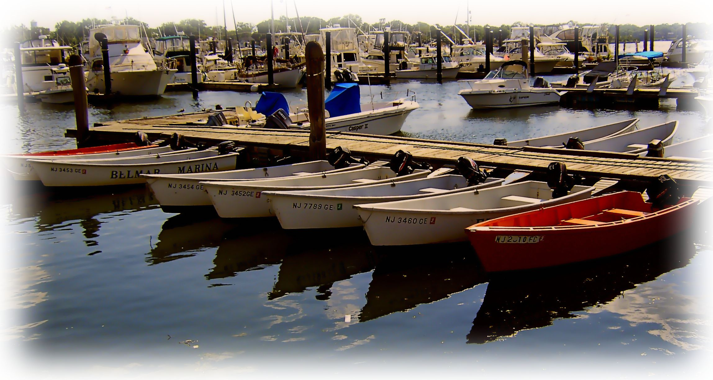 Motor boat reflections at belmar nj marina painting love for Belmar nj fishing