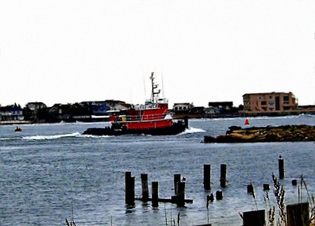 Red Tug Close To Jersey Shore Painting