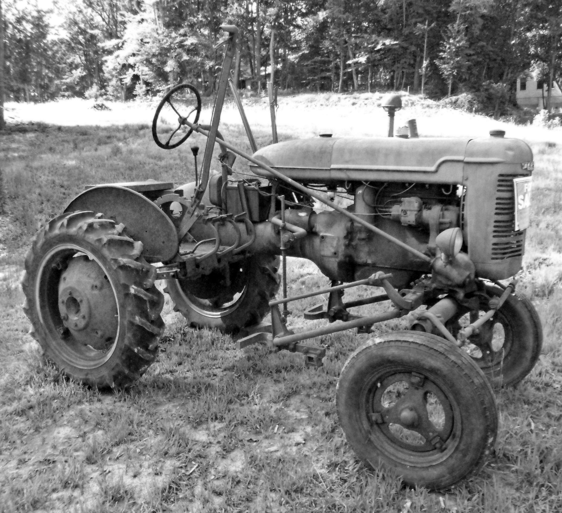 Antique Farm Tractor Black And White