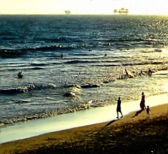 Man Beach & Oil Rigs In California Painting