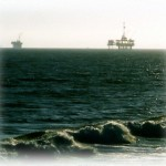 Oil Rigs Off Huntington Beach California Painting