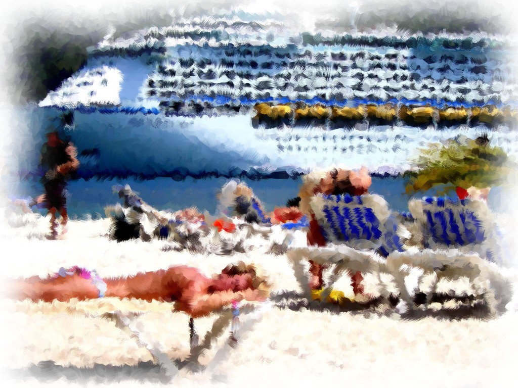 Caribbean Beach Day Off Cruise Ship Painting