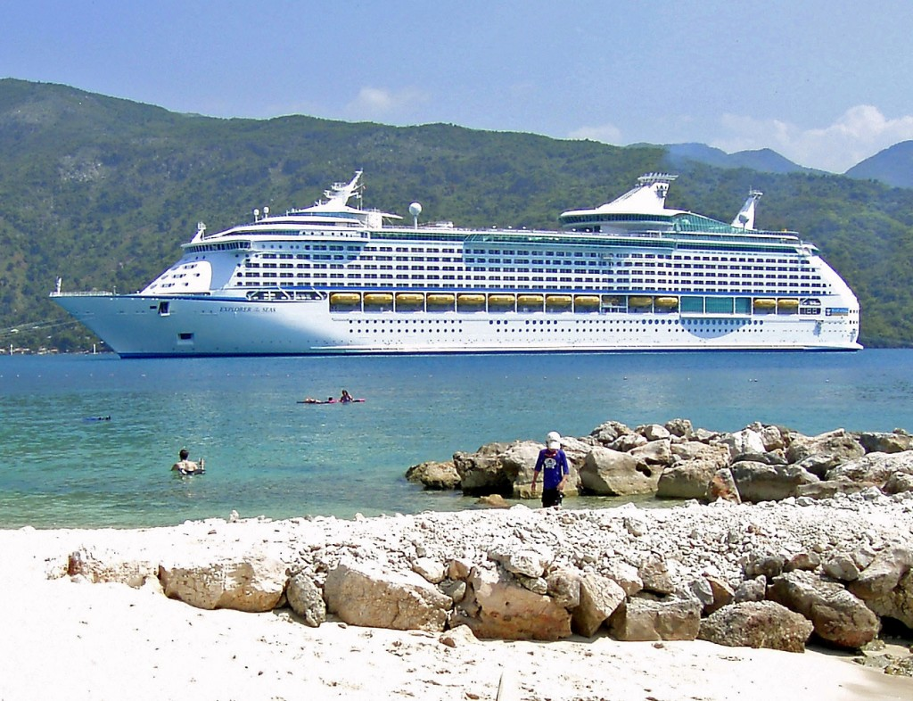 Cruise Ship Anchored Off Haiti Beach For Shore Excursion