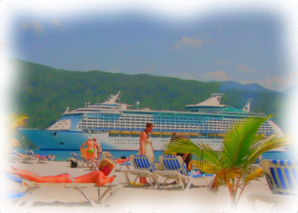 Cruise Ship Anchored Off Labadee Beach Haiti Painting