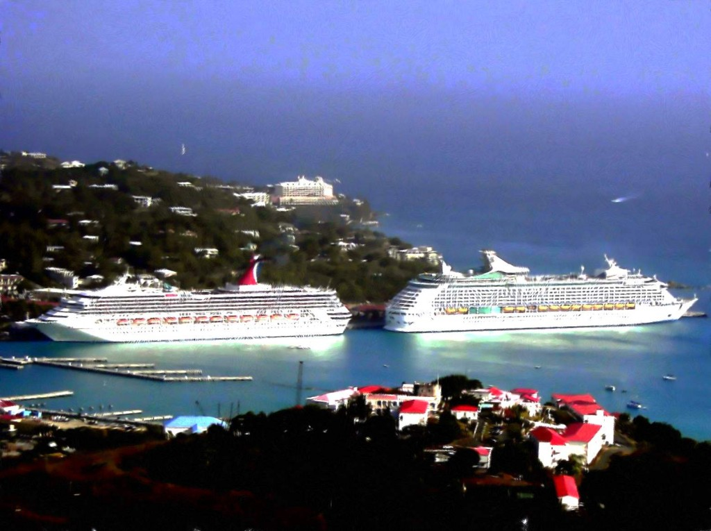 Cruise Ships Docked In St Thomas Harbor Painting