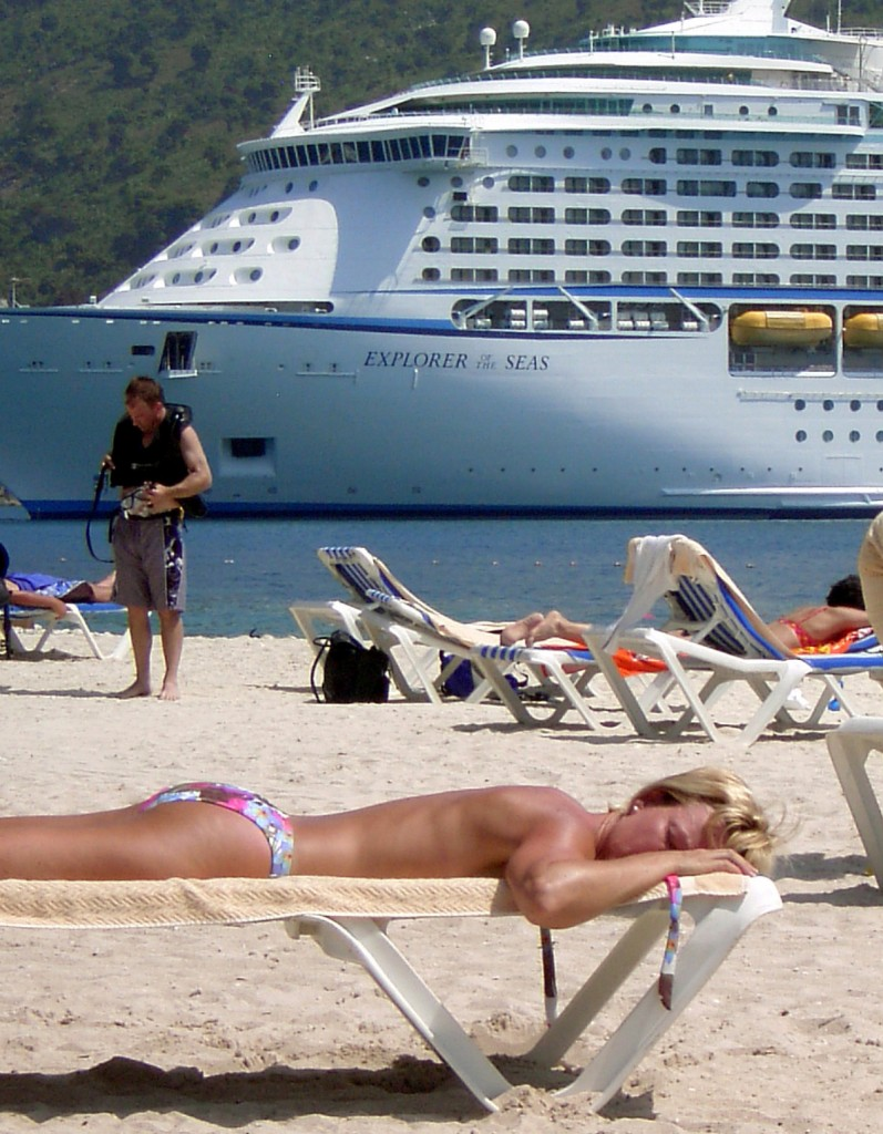 Diver Bare Back Tanner & Cruise Ship In The Caribbean