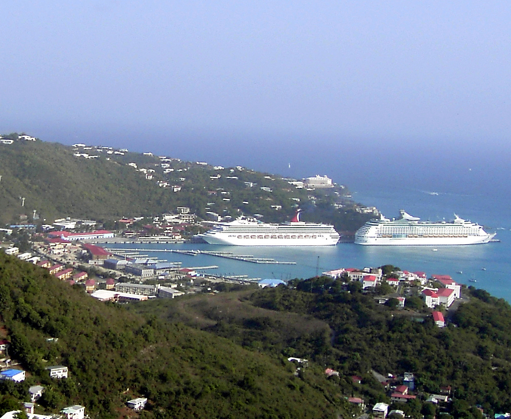 Scenic View Of Docked Cruise Ships In St Thomas Harbor