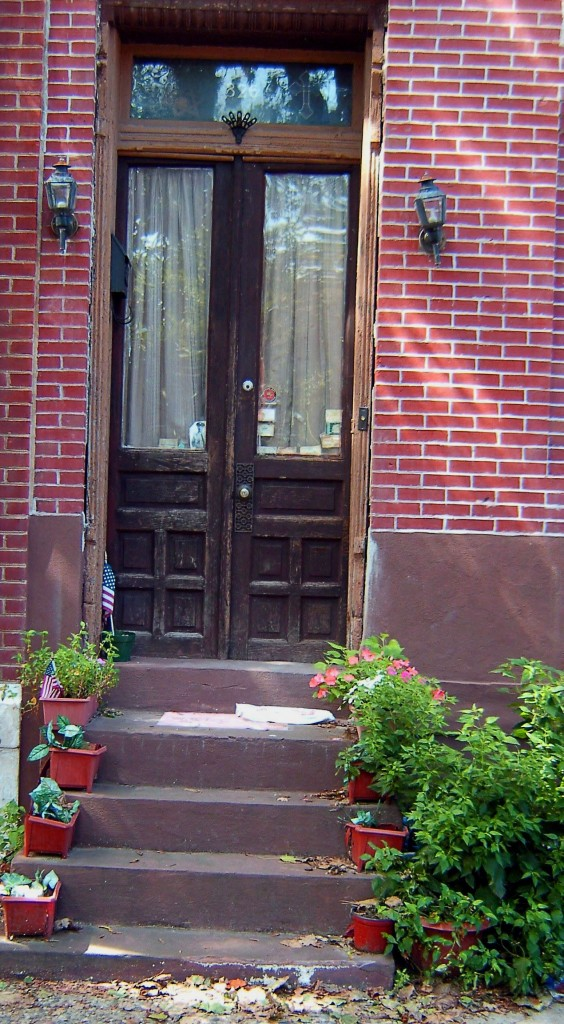 Sidewalk & Step Planters With Antique Front Door