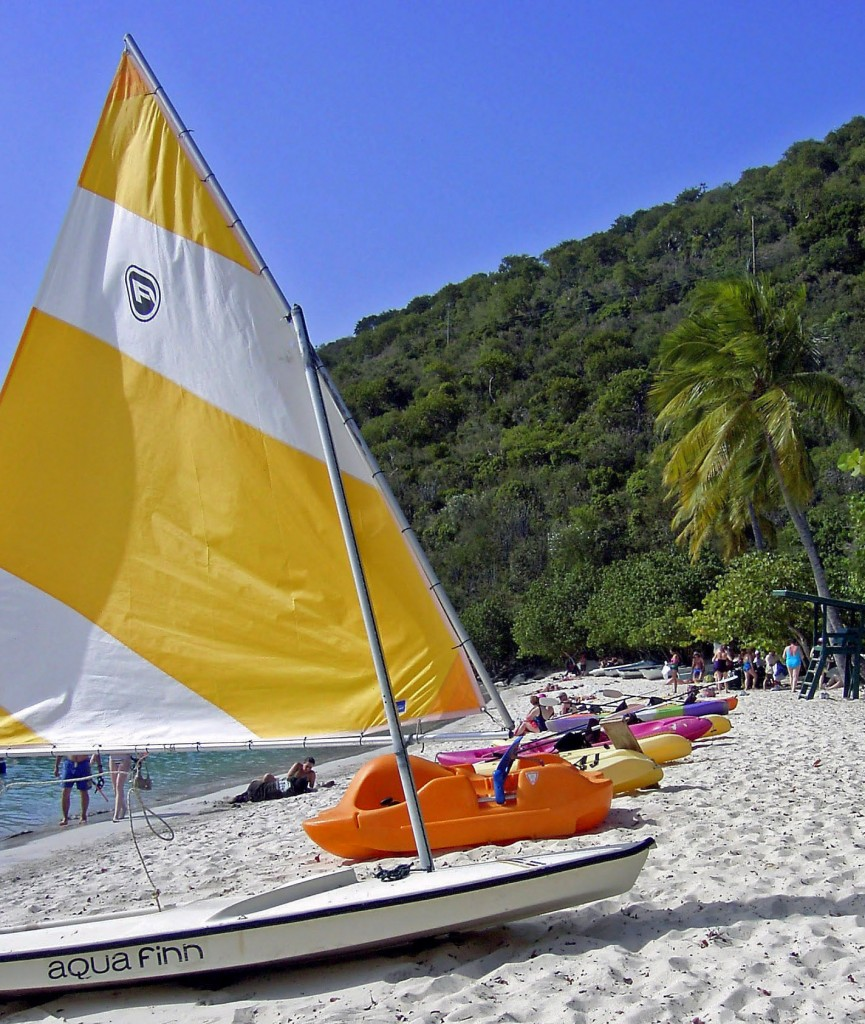 Sunfish Sailboat Kayaks On St Thomas Beach