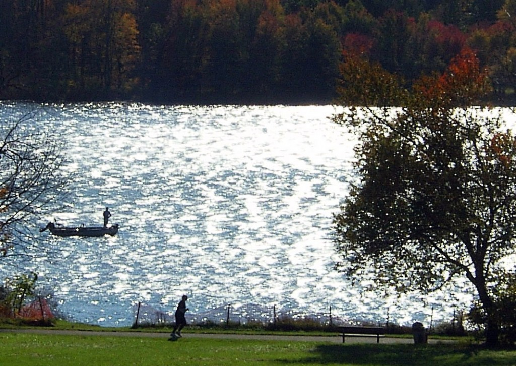 JOGGING & FISHING AT LAKE GALENA IN BUCKS COUNTY
