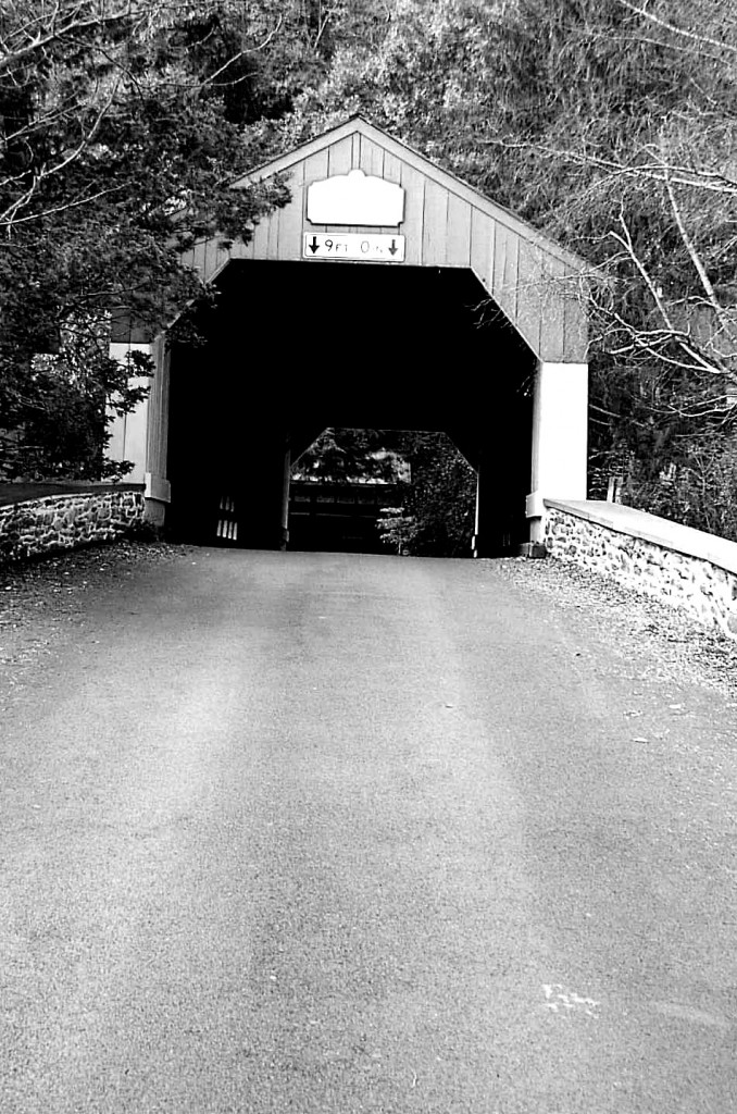 BLACK & WHITE ENTRANCE TO COVERED BRIDGE