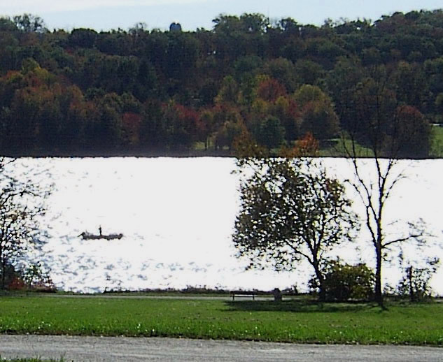 MOTOR BOAT FISHING ON LAKE GALENA IN BUCKS COUNTY