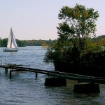 SAILING PAST RICKETY PIER ON THE DELAWARE RIVER