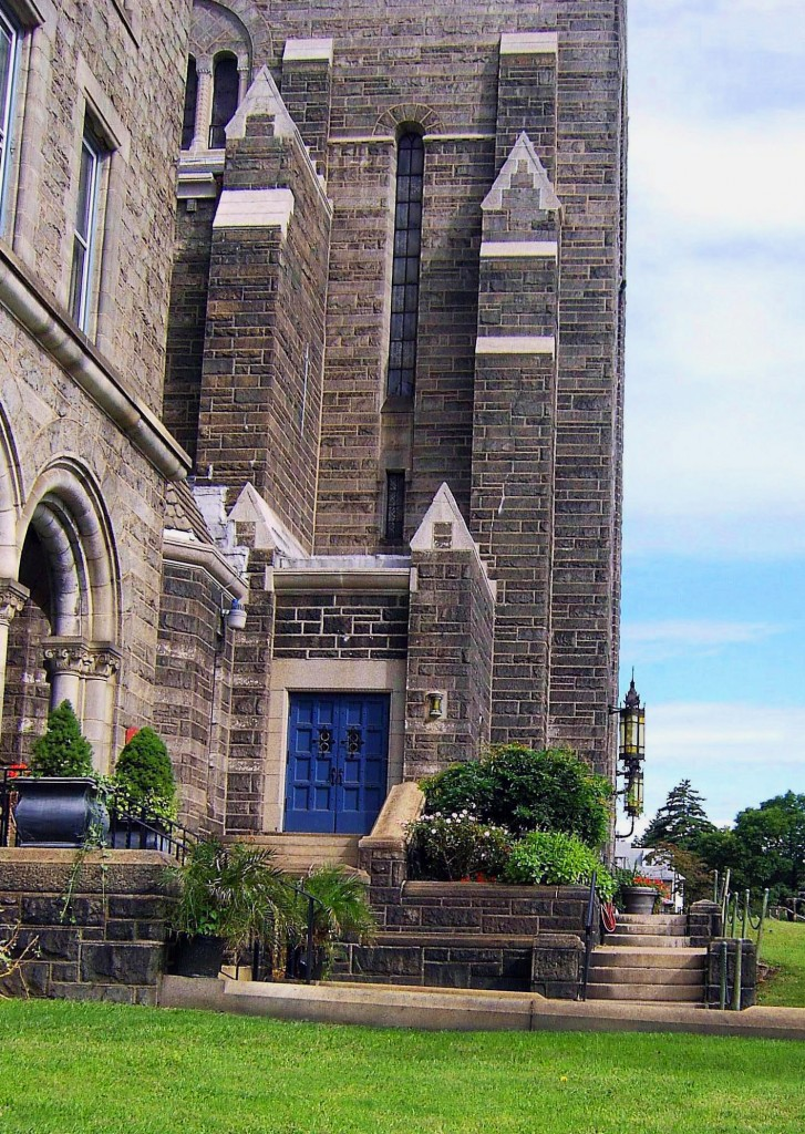 SIDE LANDSCAPED ENTRANCE TO PHILADELPHIA CHURCH