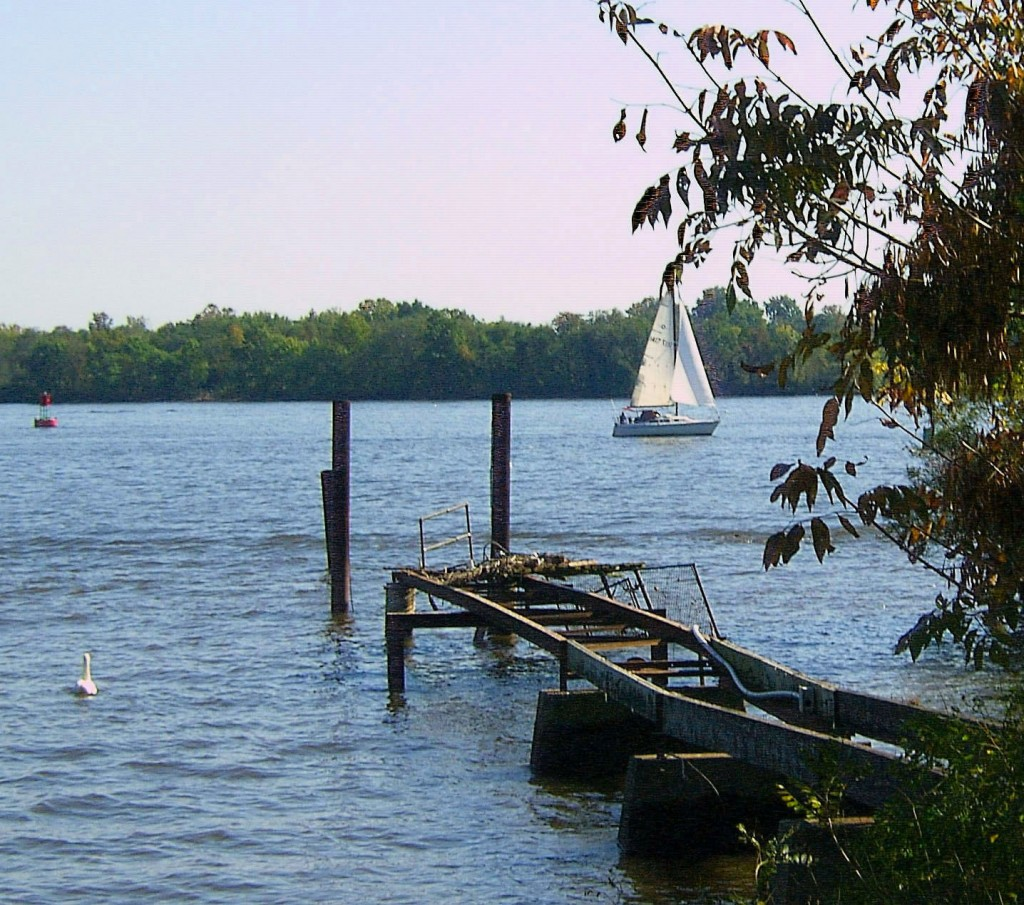 SWAN SAIL BOAT & DAMAGED DOCK ON THE DELAWARE
