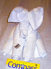 CRUISE SHIP ELEPHANT TOWEL ART