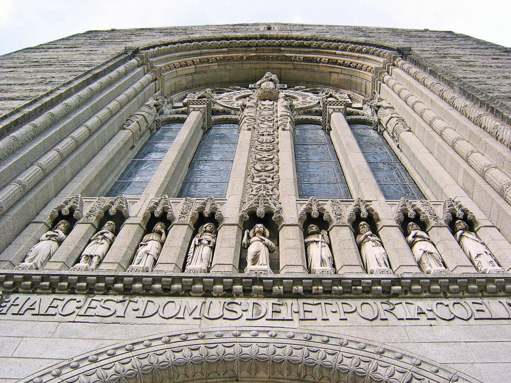 DRAMATIC SCULPTURING & DETAILING ABOVE ENTRANCE TO OUR LADY OF HOPE ON NORTH BROAD STREET PHILADELPHIA