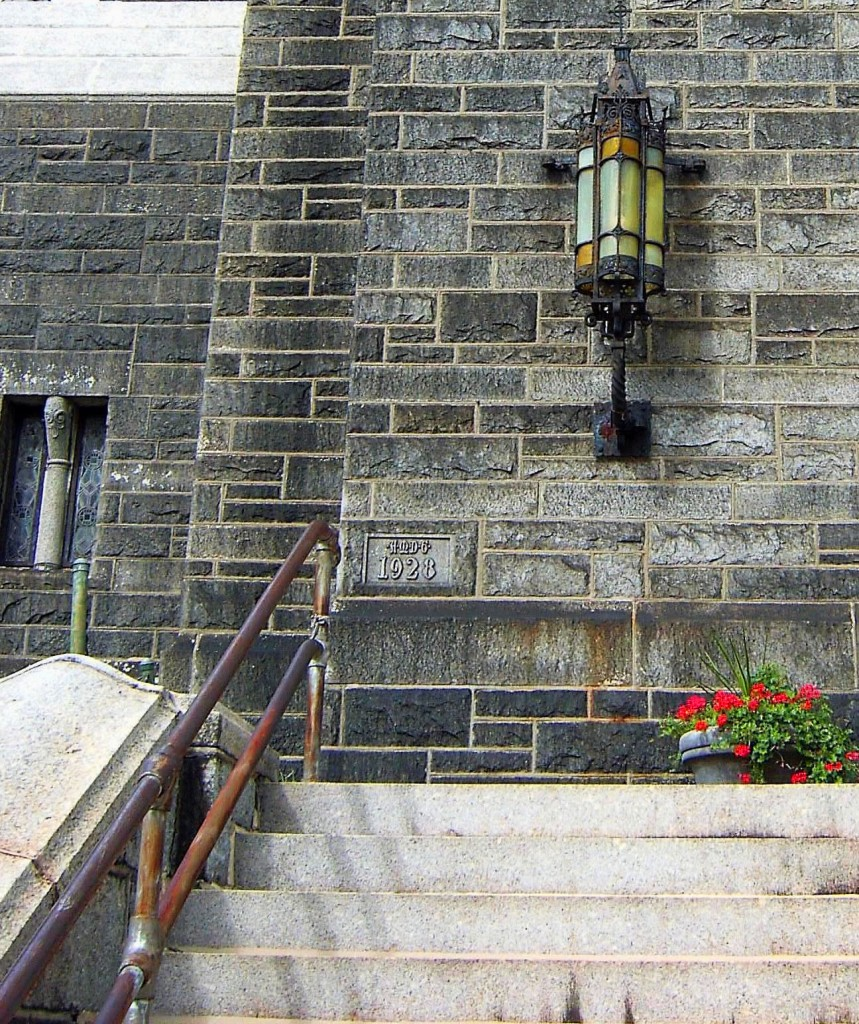 HISTORIC PHILADELPHIA CHURCH WITH MOUNTED UNIQUE IRON LANTERN