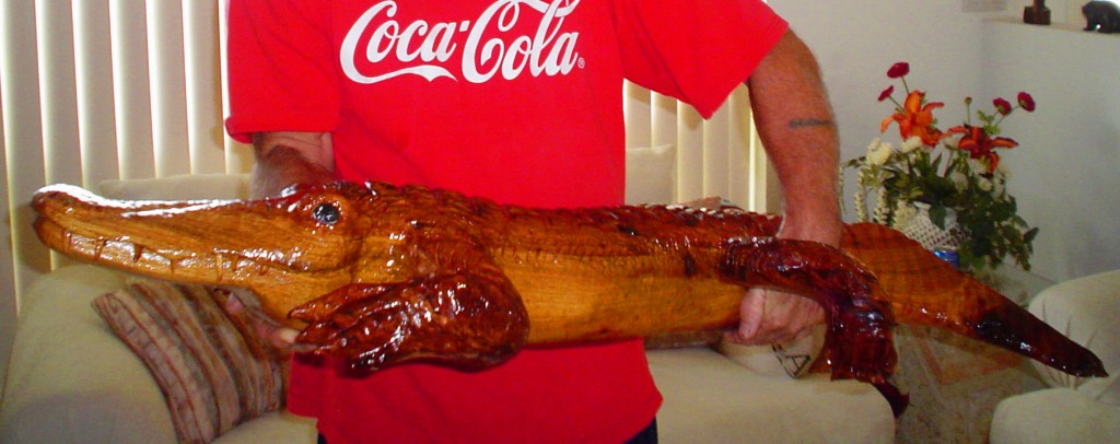 4 Foot Alligator Wood Sculpture