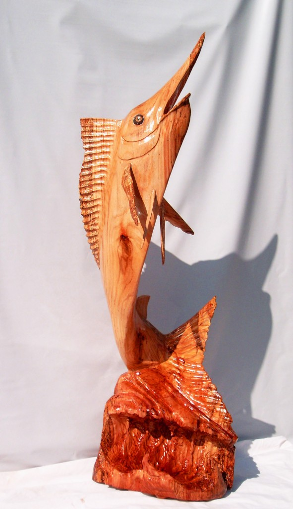4 Foot White Oak Marlin Sculpture