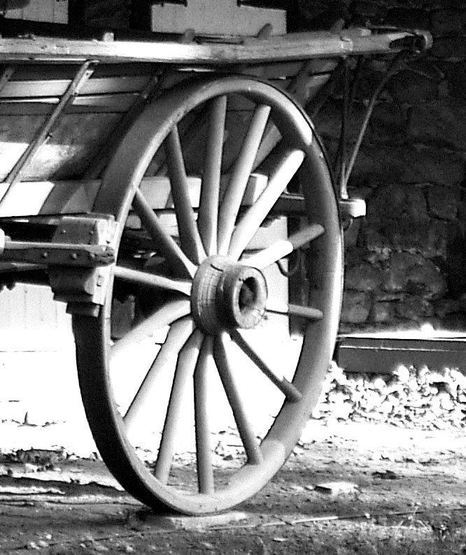Black & White Of Antique Farm Wagon Rear Wheel Assembly