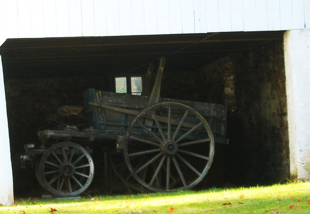Old Farm Wagon Stored In Row Barn