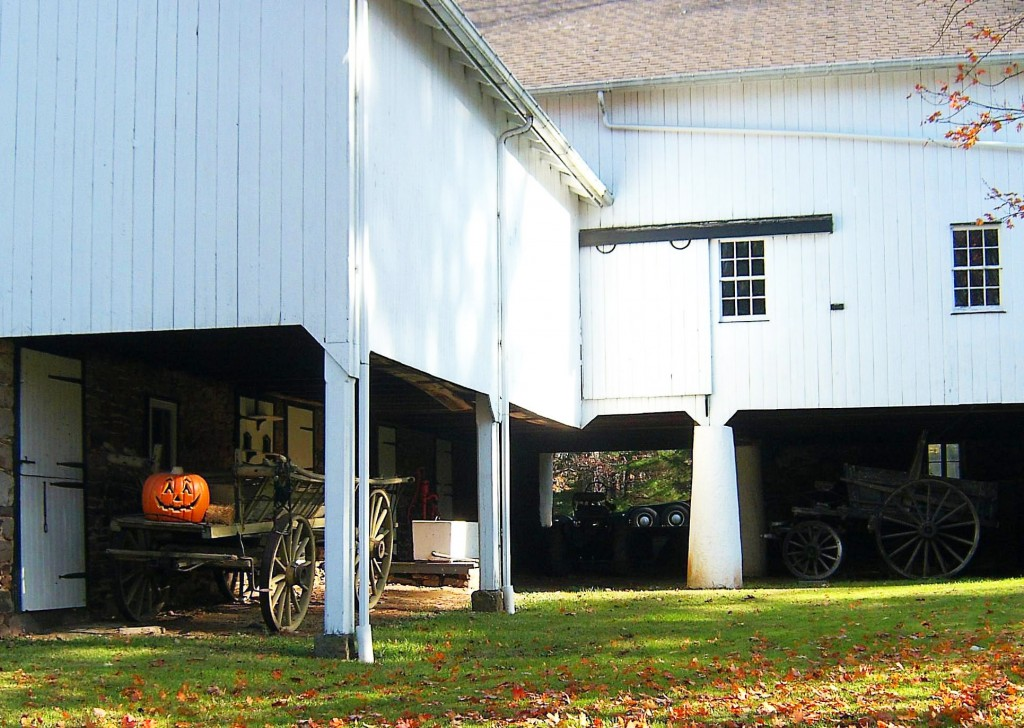 Old Farm Wagon & Pumpkin In Open Row Barn