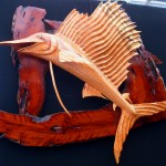 Oak Sunfish Sculpture On Cedar Driftwood Planking