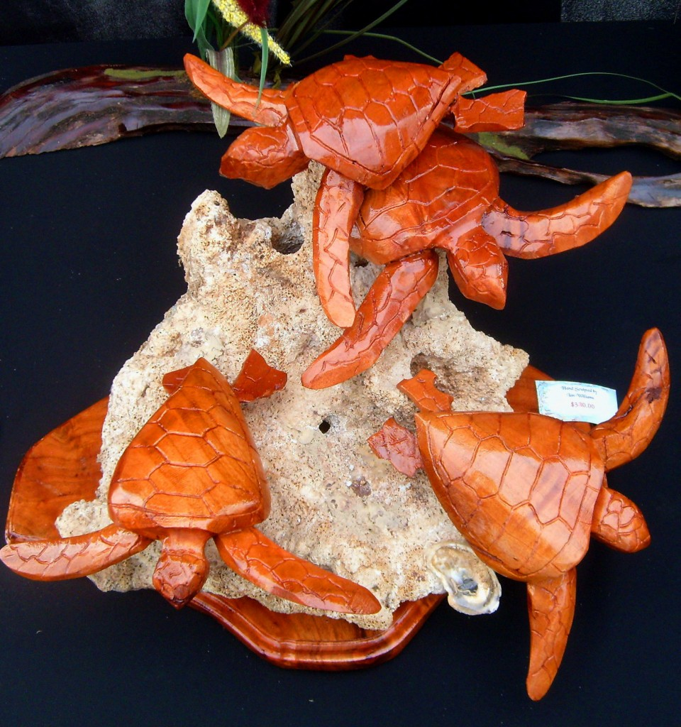 Sculptured Sea Turtles Mounted On Oyster Shell Rock