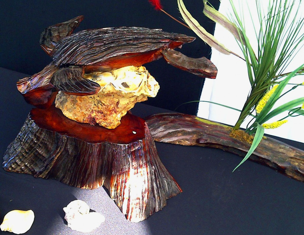 Sea Turtle Sculpture Mounted On Oyster Shell Rock & Trunk And Sea Grass Mounted In Driftwood