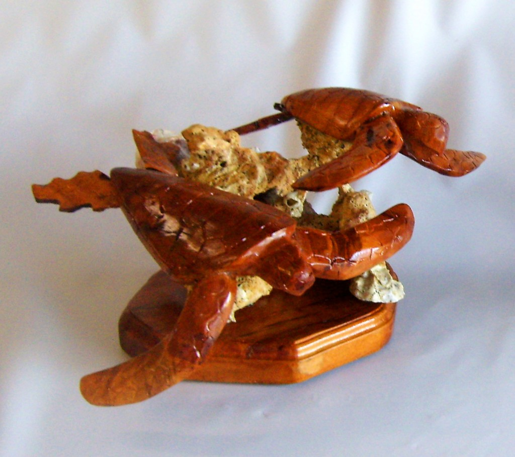 2 Carved Pecan Sea Turtles Mounted On Oyster Rock