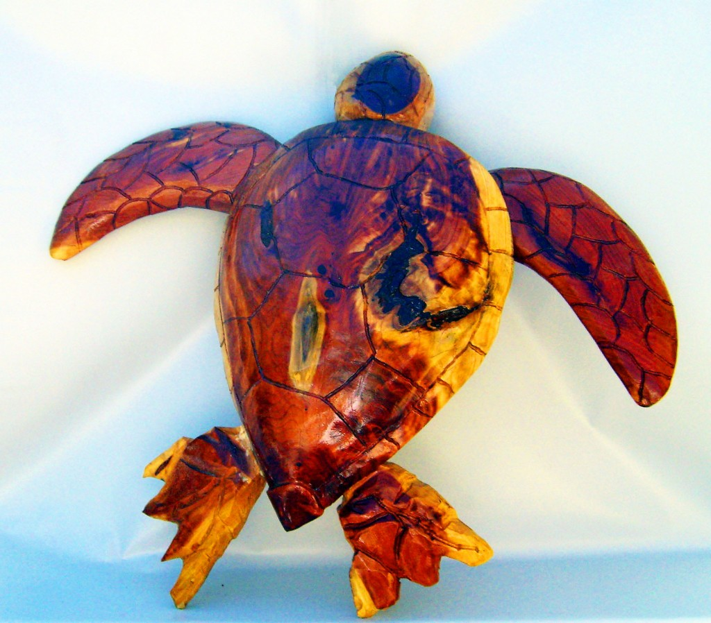 3 ft Carved Sea Turtle For Wall Mounting