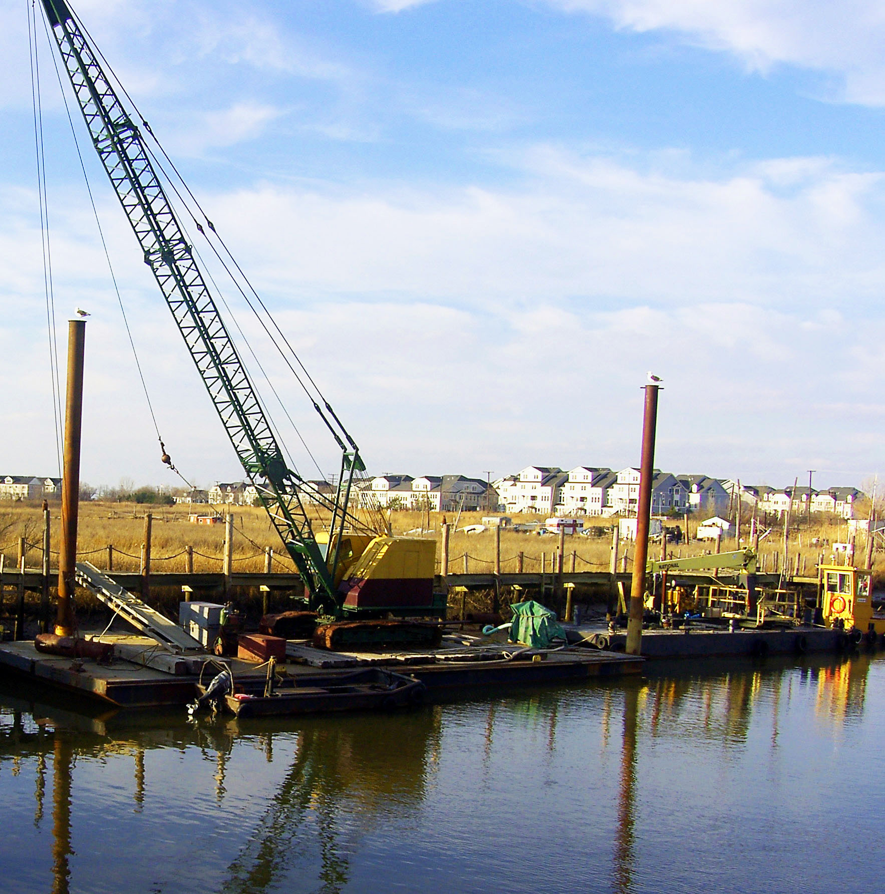 Overhead Crane New Jersey : Back bay reflections of crane on barge in new jersey