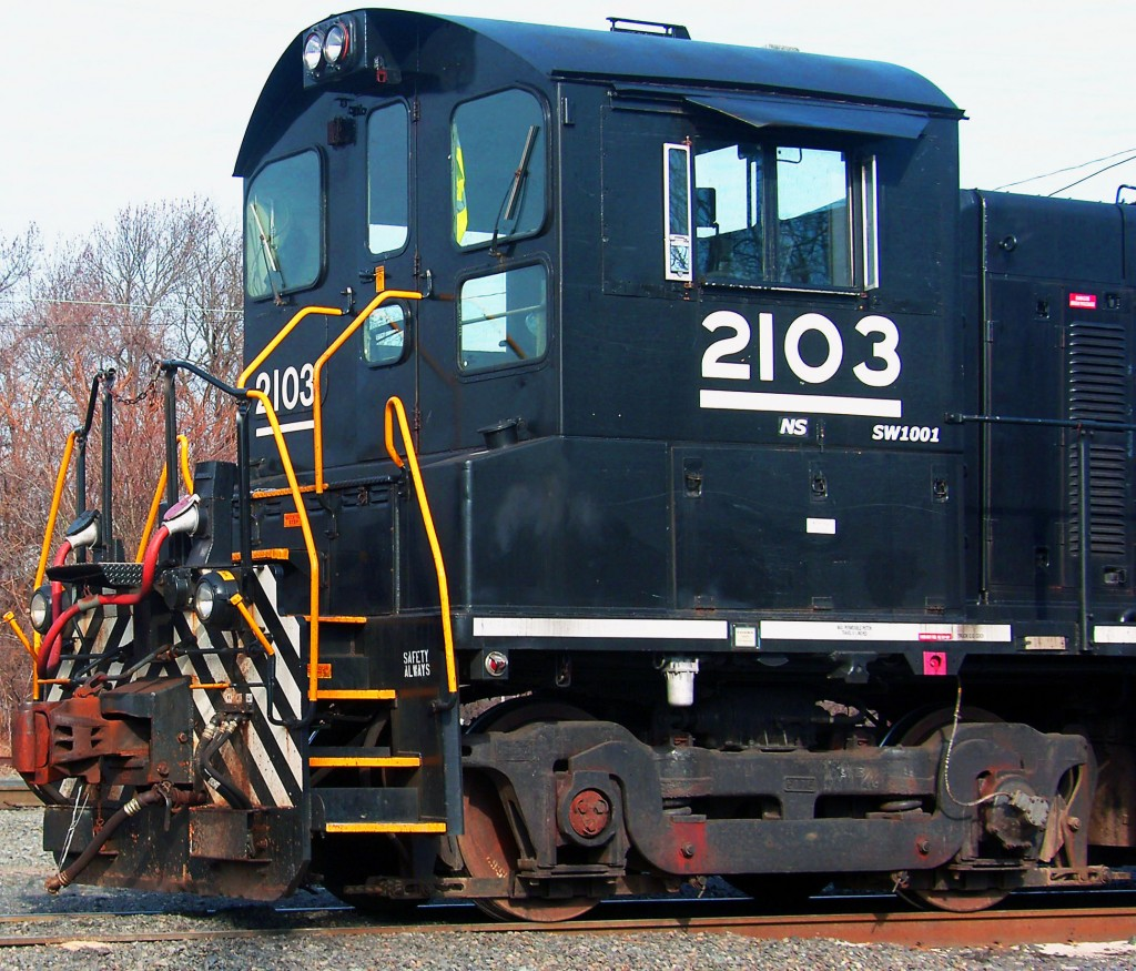 Freight Locomotive Ready To Be Coupled In Rail Yard