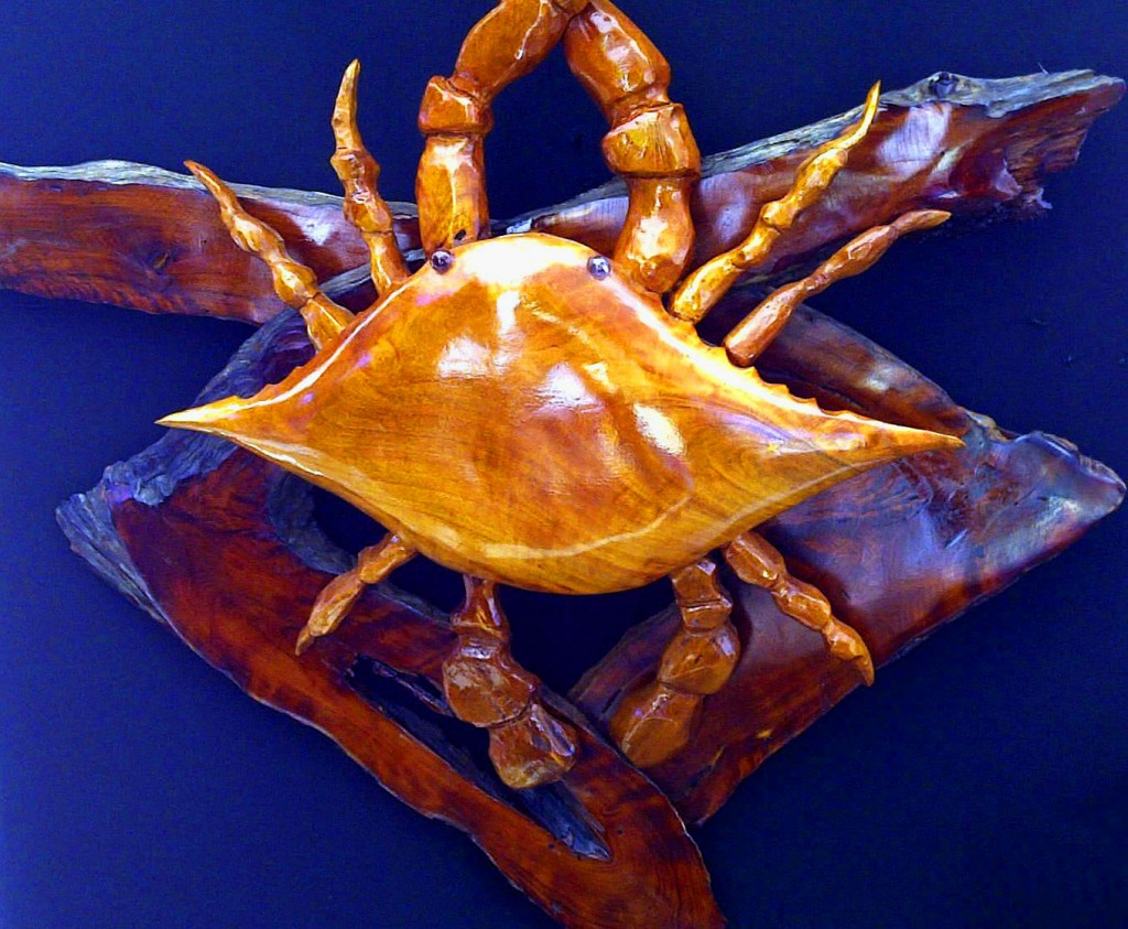 Hand Carved Crab Mounted On Driftwood