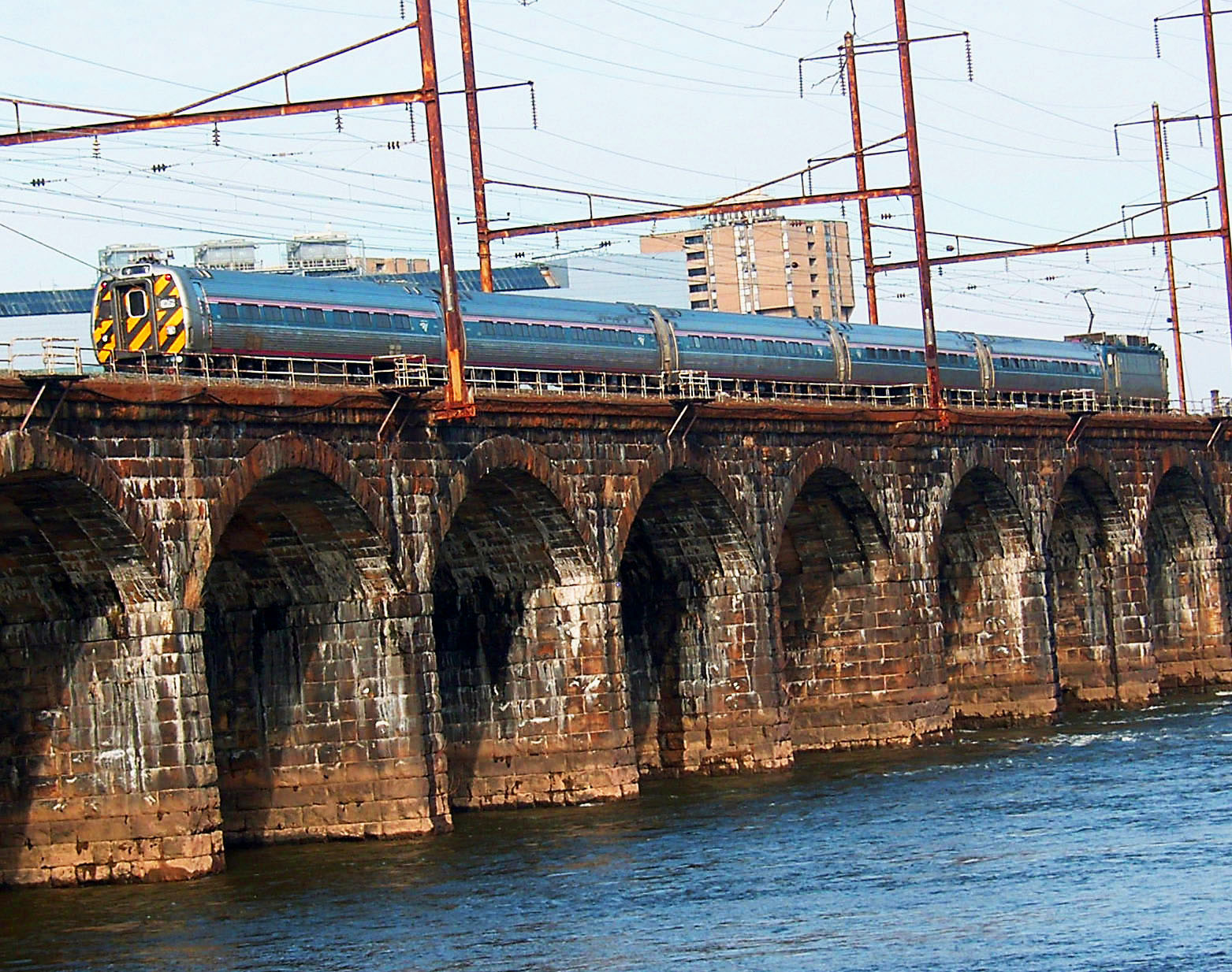Metroliner Crossing Delaware River Arriving Into Trenton NJ