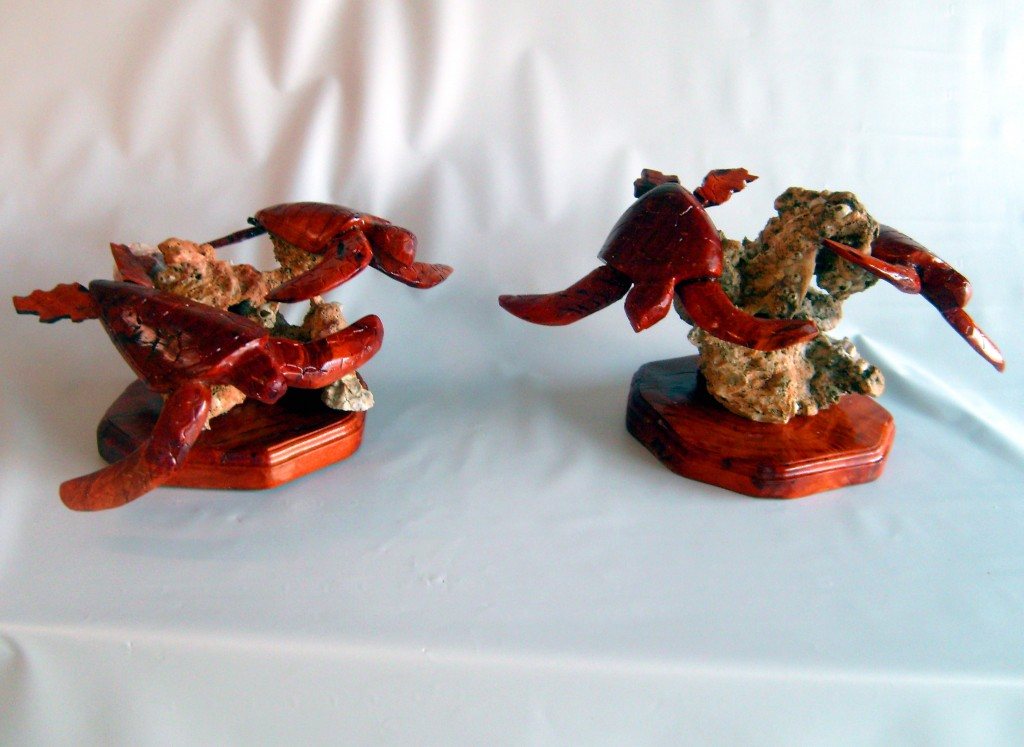 Pair Of Wood Sculpted Sea Turtles Mounted On Oyster Shell Rocks