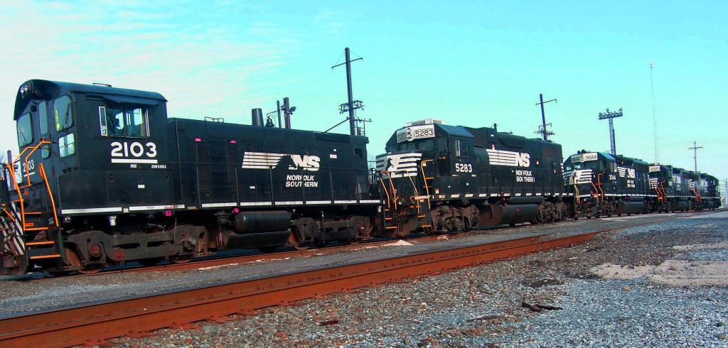 Connected Locomotives In Rail Yard