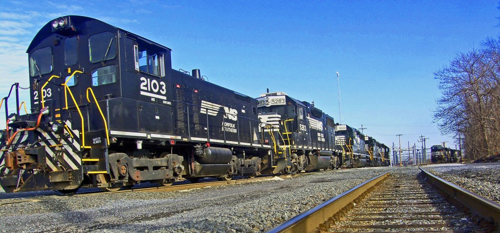 Locomotives Parked In Pennsylvania Rail Yard