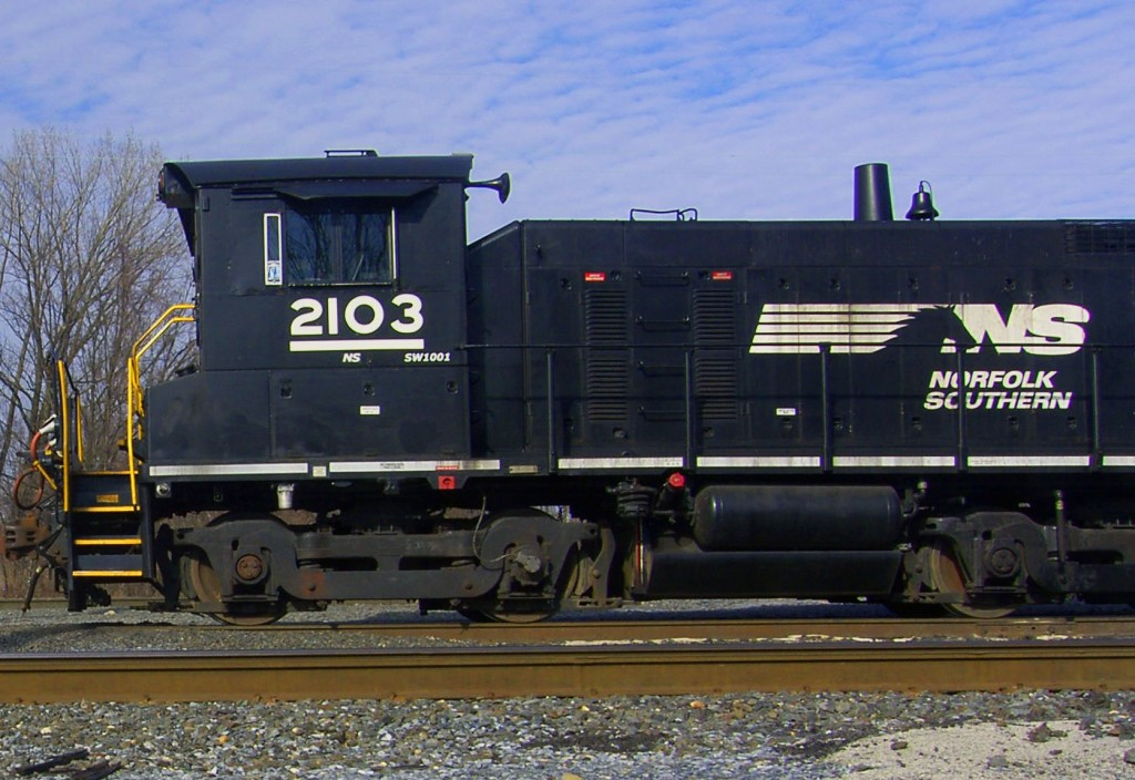 Side View Of Freight Locomotive