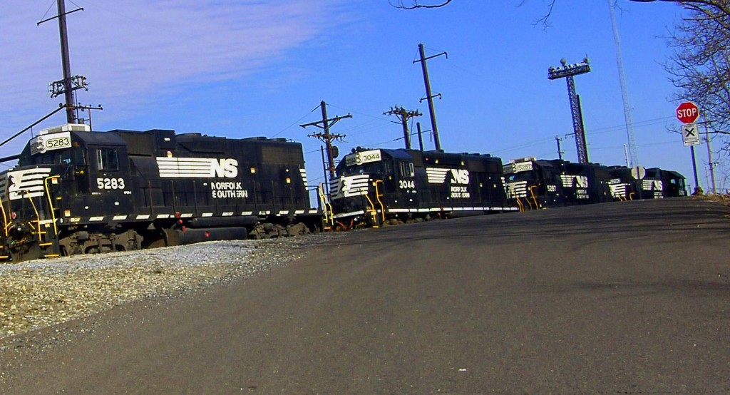 Small Parade Of Freight Train Locomotives